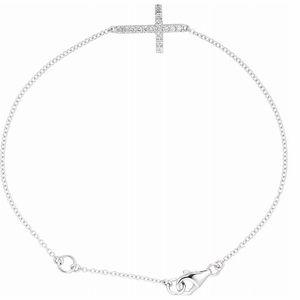 """Sterling Silver Sideways Cross 8"""" Bracelet"""